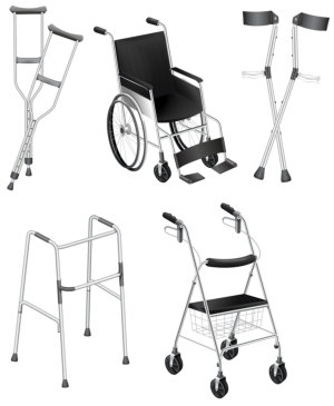 illustration of the crutches and wheelchairs on a white background